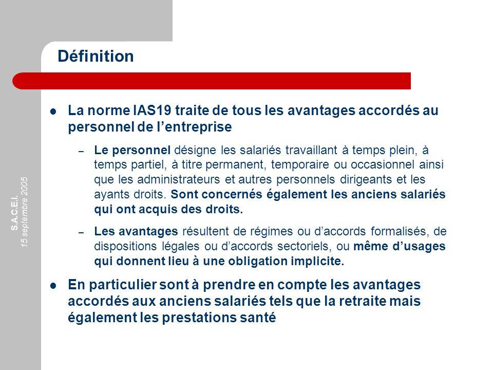S.A.C.E.I. 15 septembre 2005 La norme IAS19 traite de tous les avantages accordés au personnel de lentreprise – Le personnel désigne les salariés trav