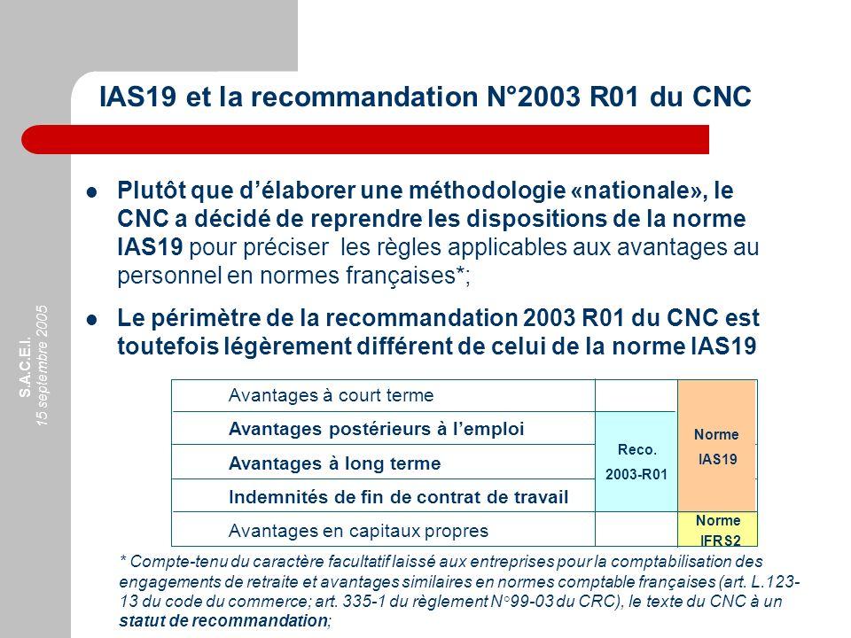 S.A.C.E.I. 15 septembre 2005 Plutôt que délaborer une méthodologie «nationale», le CNC a décidé de reprendre les dispositions de la norme IAS19 pour p
