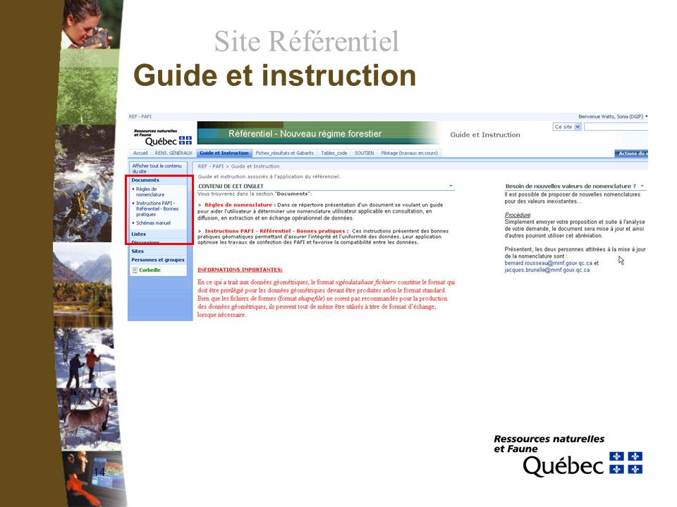 14 Site Référentiel Guide et instruction