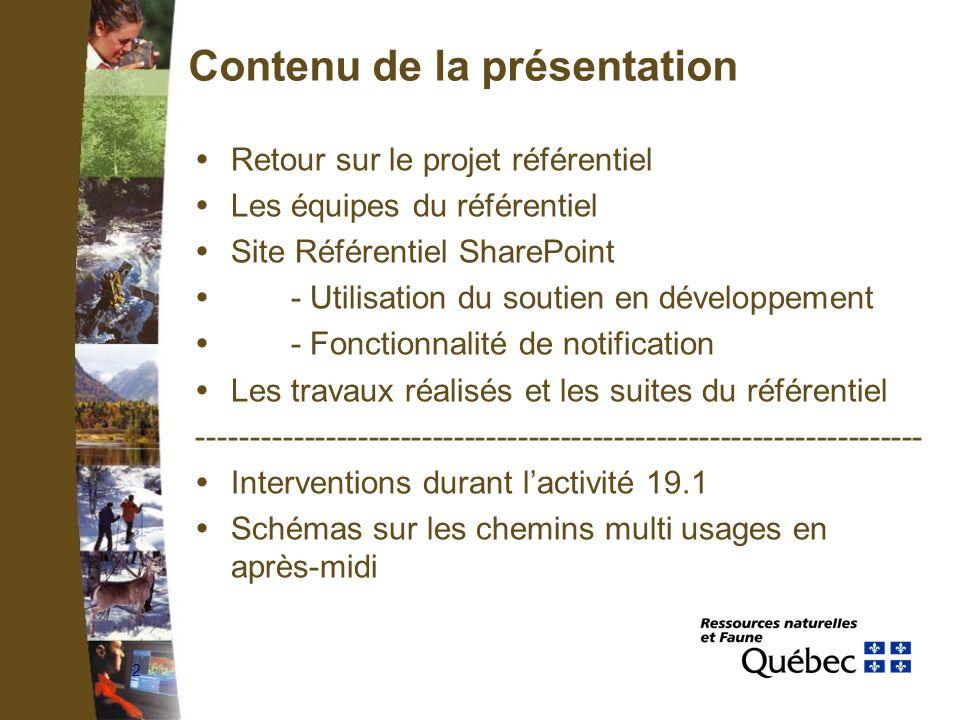 2 Contenu de la présentation Retour sur le projet référentiel Les équipes du référentiel Site Référentiel SharePoint - Utilisation du soutien en dével