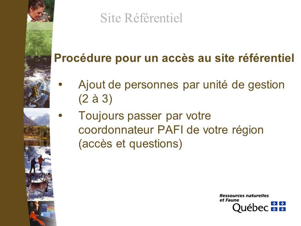20 Procédure pour un accès au site référentiel Ajout de personnes par unité de gestion (2 à 3) Toujours passer par votre coordonnateur PAFI de votre r