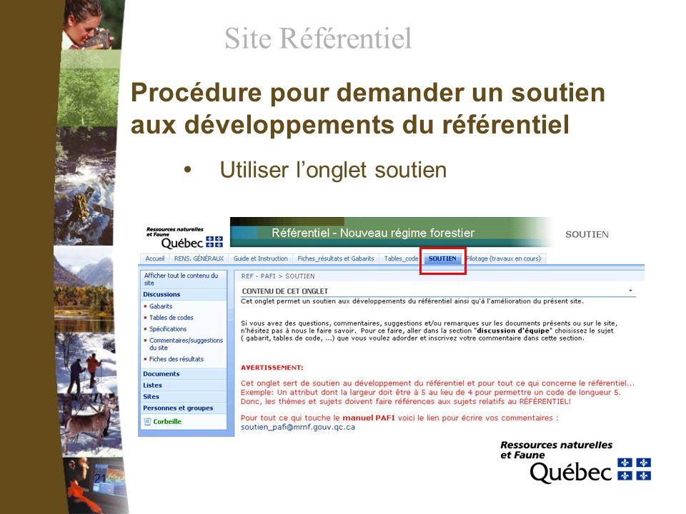 21 Procédure pour demander un soutien aux développements du référentiel Utiliser longlet soutien Site Référentiel
