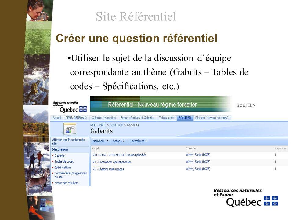 22 Créer une question référentiel Utiliser le sujet de la discussion déquipe correspondante au thème (Gabrits – Tables de codes – Spécifications, etc.