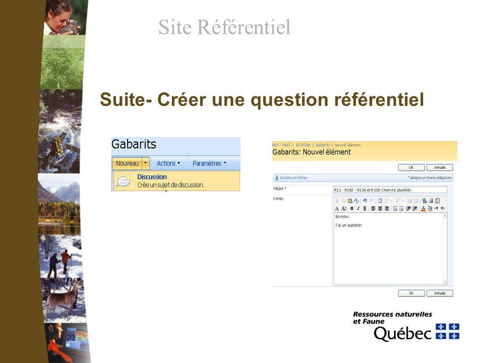 23 Suite- Créer une question référentiel Site Référentiel