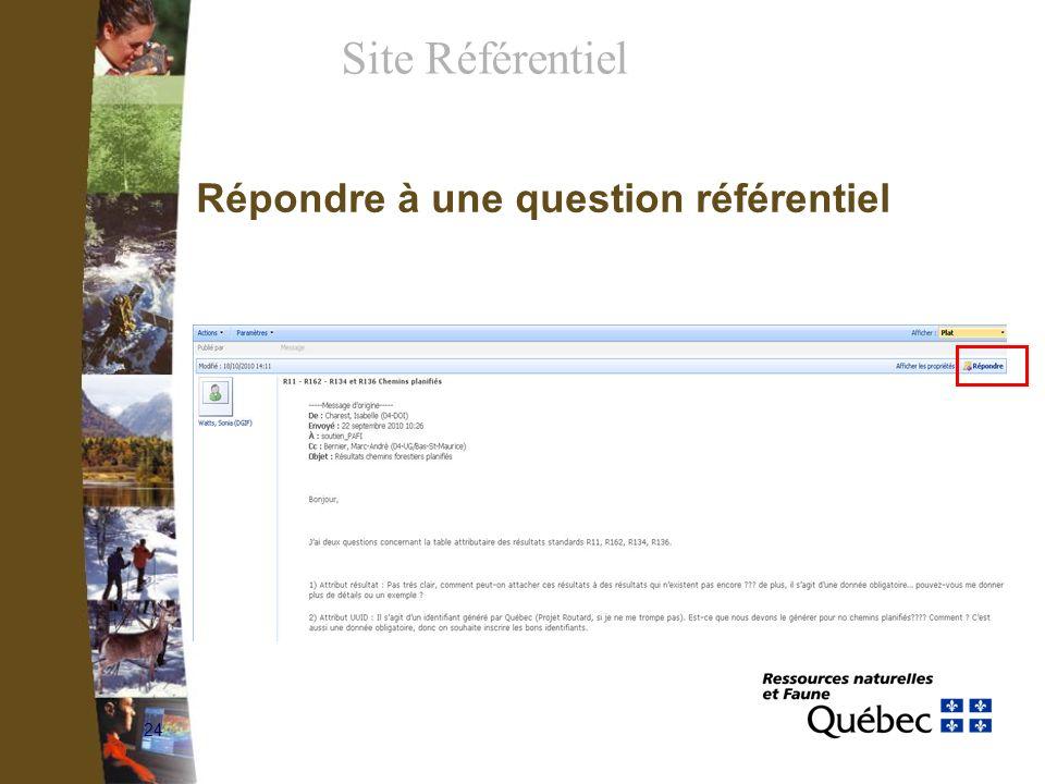 24 Répondre à une question référentiel Site Référentiel