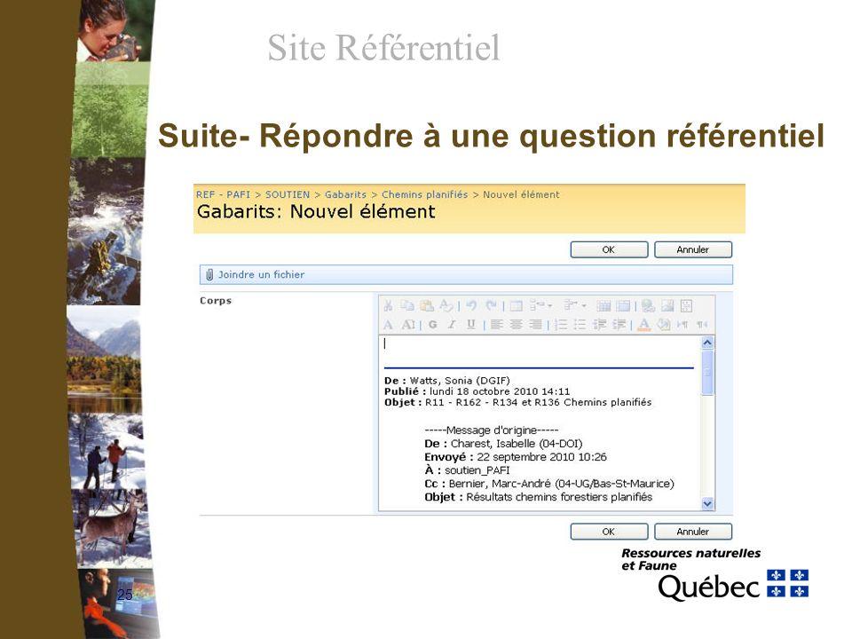 25 Suite- Répondre à une question référentiel Site Référentiel