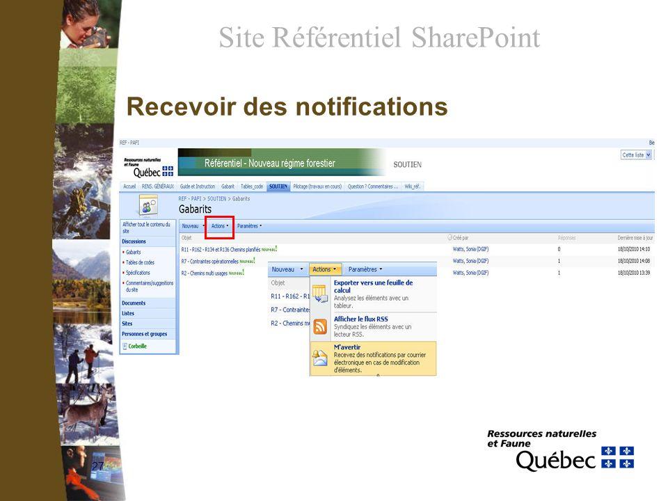 27 Recevoir des notifications Site Référentiel SharePoint