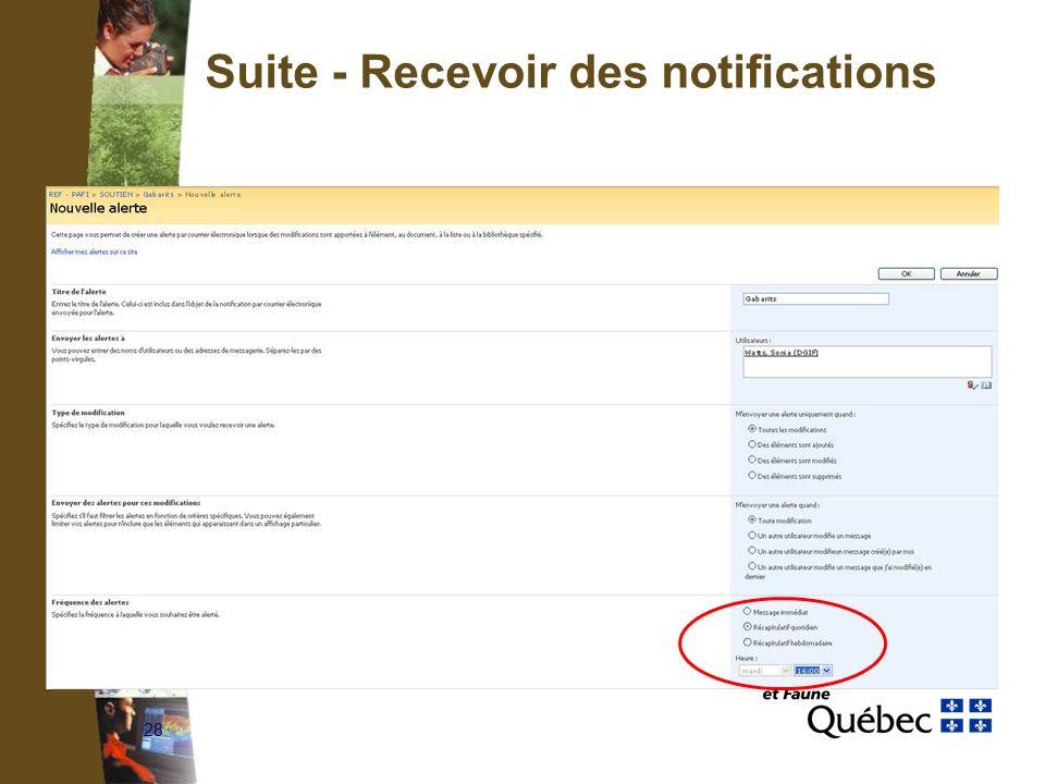 28 Suite - Recevoir des notifications