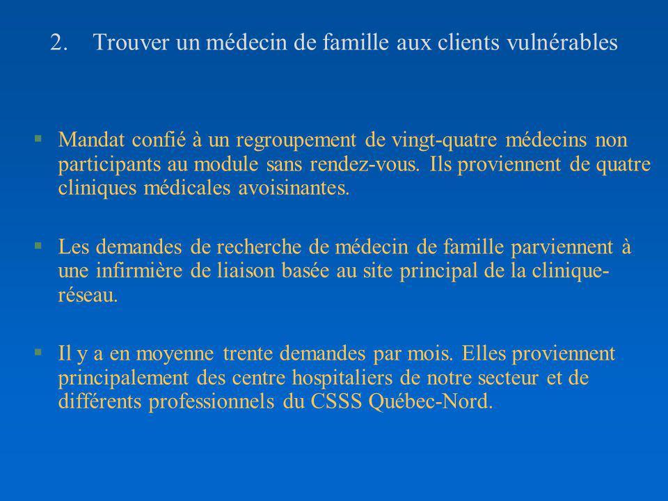2. Trouver un médecin de famille aux clients vulnérables §Mandat confié à un regroupement de vingt-quatre médecins non participants au module sans ren