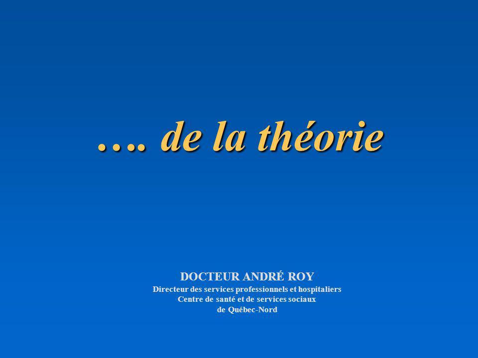 …. de la théorie DOCTEUR ANDRÉ ROY Directeur des services professionnels et hospitaliers Centre de santé et de services sociaux de Québec-Nord