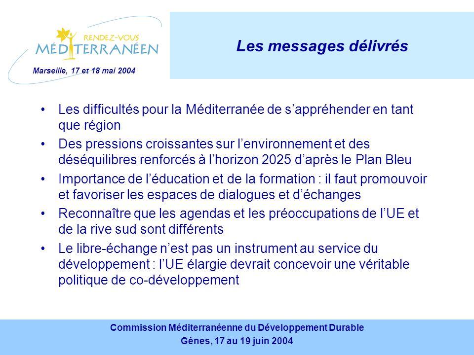 Marseille, 17 et 18 mai 2004 Commission Méditerranéenne du Développement Durable Gênes, 17 au 19 juin 2004 Commission Méditerranéenne du Développement Durable Gênes, 17 au 19 juin 2004 Les messages délivrés Les difficultés pour la Méditerranée de sappréhender en tant que région Des pressions croissantes sur lenvironnement et des déséquilibres renforcés à lhorizon 2025 daprès le Plan Bleu Importance de léducation et de la formation : il faut promouvoir et favoriser les espaces de dialogues et déchanges Reconnaître que les agendas et les préoccupations de lUE et de la rive sud sont différents Le libre-échange nest pas un instrument au service du développement : lUE élargie devrait concevoir une véritable politique de co-développement