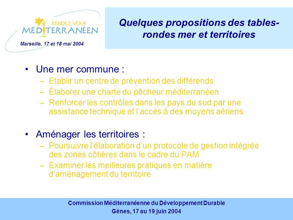 Marseille, 17 et 18 mai 2004 Commission Méditerranéenne du Développement Durable Gênes, 17 au 19 juin 2004 Commission Méditerranéenne du Développement Durable Gênes, 17 au 19 juin 2004 Les conclusions du « rendez-vous méditerranéen » La société civile est indispensable à la mise en œuvre effective dune stratégie de développement durable Nécessité de sappuyer sur la seule enceinte de protection de la Méditerranée : le PAM Encouragement des pays du sud à se mobiliser pour renforcer leurs liens avec lUnion européenne dans le cadre du PEM