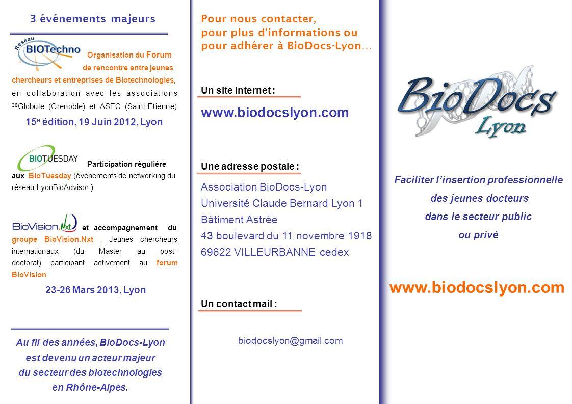 3 événements majeurs Organisation du Forum BIOTechno, forum de rencontre entre jeunes chercheurs et entreprises de Biotechnologies, en collaboration avec les associations 38 Globule (Grenoble) et ASEC (Saint-Étienne) 15 e édition, 19 Juin 2012, Lyon Participation régulière aux BioTuesday (événements de networking du réseau LyonBioAdvisor ) Accueil, gestion et accompagnement du groupe BioVision.Nxt : Jeunes chercheurs internationaux (du Master au post- doctorat) participant activement au forum BioVision.