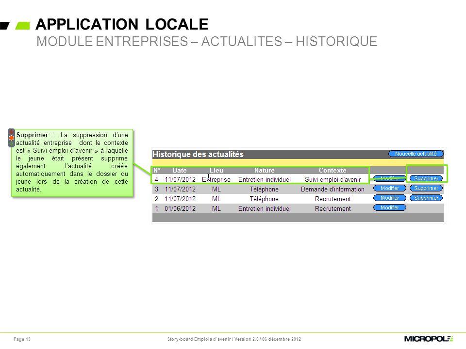 APPLICATION LOCALE Page 13 MODULE ENTREPRISES – ACTUALITES – HISTORIQUE Supprimer : La suppression dune actualité entreprise dont le contexte est « Su