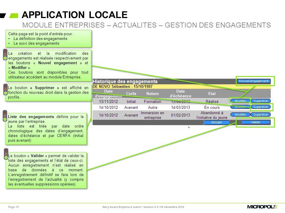 APPLICATION LOCALE Page 15 MODULE ENTREPRISES – ACTUALITES – GESTION DES ENGAGEMENTS Le bouton « Supprimer » est affiché en fonction du nouveau droit
