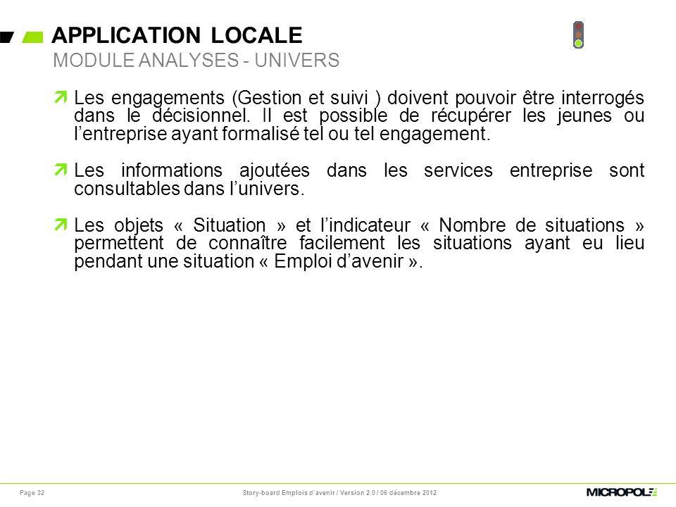 APPLICATION LOCALE Page 32 Les engagements (Gestion et suivi ) doivent pouvoir être interrogés dans le décisionnel. Il est possible de récupérer les j