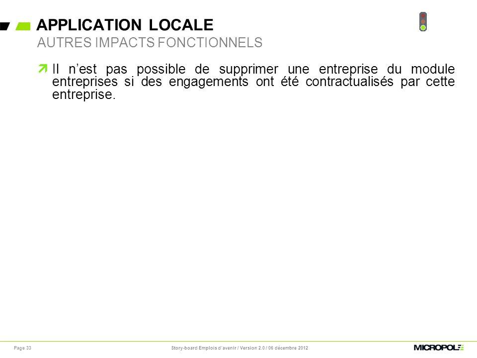 APPLICATION LOCALE Page 33 Il nest pas possible de supprimer une entreprise du module entreprises si des engagements ont été contractualisés par cette