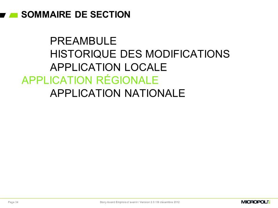 SOMMAIRE DE SECTION Page 34 PREAMBULE HISTORIQUE DES MODIFICATIONS APPLICATION LOCALE APPLICATION RÉGIONALE APPLICATION NATIONALE Story-board Emplois