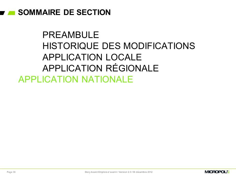 SOMMAIRE DE SECTION Page 38 PREAMBULE HISTORIQUE DES MODIFICATIONS APPLICATION LOCALE APPLICATION RÉGIONALE APPLICATION NATIONALE Story-board Emplois