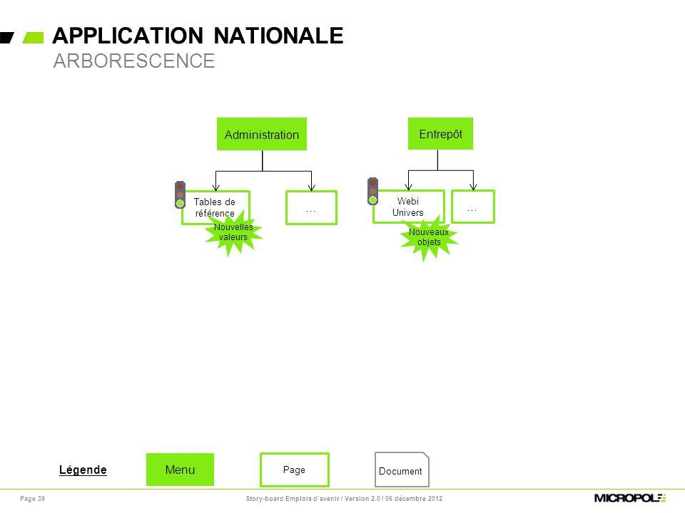 APPLICATION NATIONALE Page 39 ARBORESCENCE Administration Tables de référence … Entrepôt Webi Univers … Nouveaux objets Nouvelles valeurs Document Men