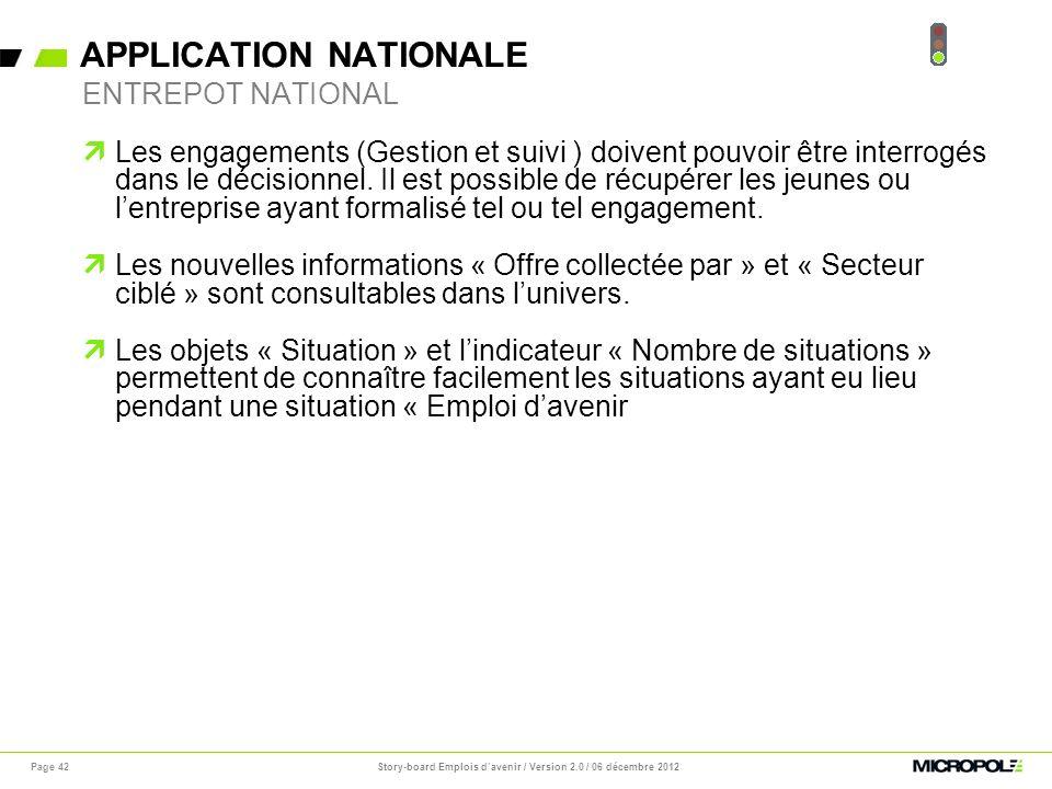 APPLICATION NATIONALE Page 42 Les engagements (Gestion et suivi ) doivent pouvoir être interrogés dans le décisionnel. Il est possible de récupérer le