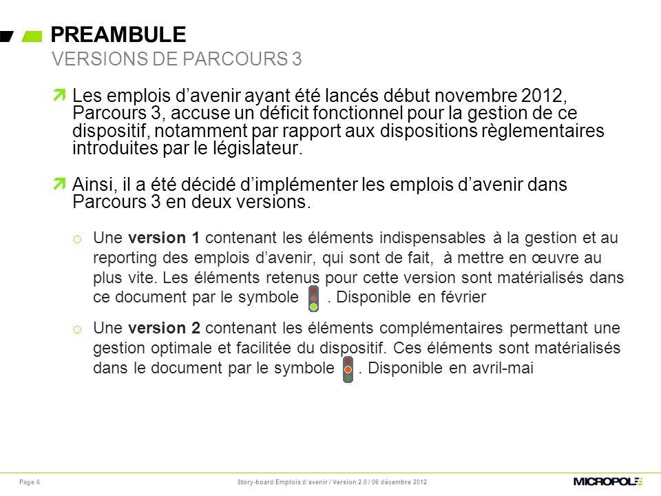PREAMBULE Story-board Emplois davenir / Version 2.0 / 06 décembre 2012Page 6 Les emplois davenir ayant été lancés début novembre 2012, Parcours 3, acc