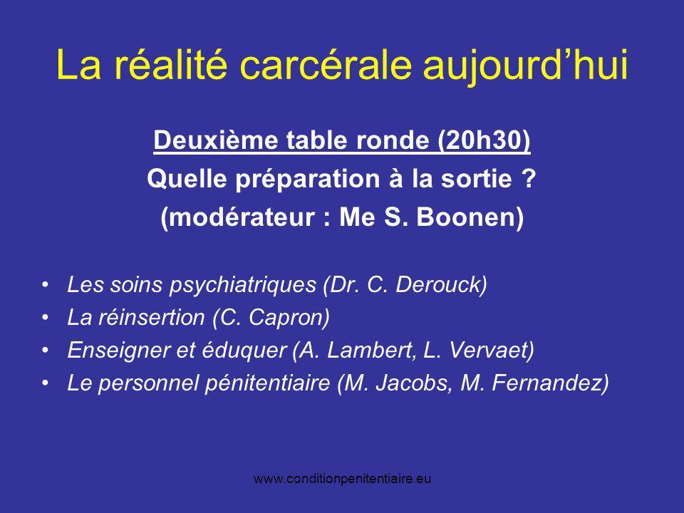 www.conditionpenitentiaire.eu La réalité carcérale aujourdhui Deuxième table ronde (20h30) Quelle préparation à la sortie .
