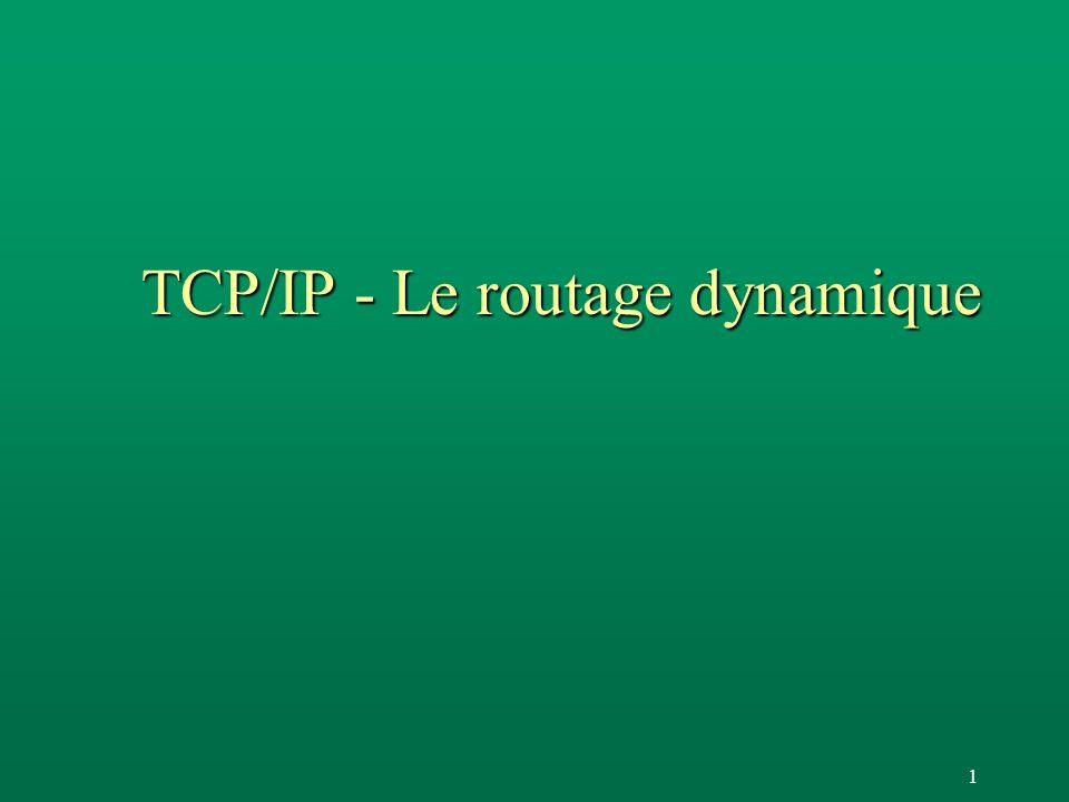 62 OSPF : Le calcul des routes F La base de données permet de calculer les tables de routages F Le calcul est effectué après tout changement de topologie F Selon lalgorithme «link state» qui détermine l les chemins les plus courts l les chemins aussi courts F OSPF transmet la table de routage à IP en transcodant les valeurs de TOS selon la RFC 1349