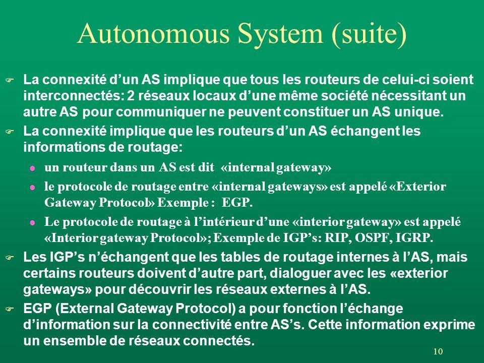 10 Autonomous System (suite) F La connexité dun AS implique que tous les routeurs de celui-ci soient interconnectés: 2 réseaux locaux dune même sociét