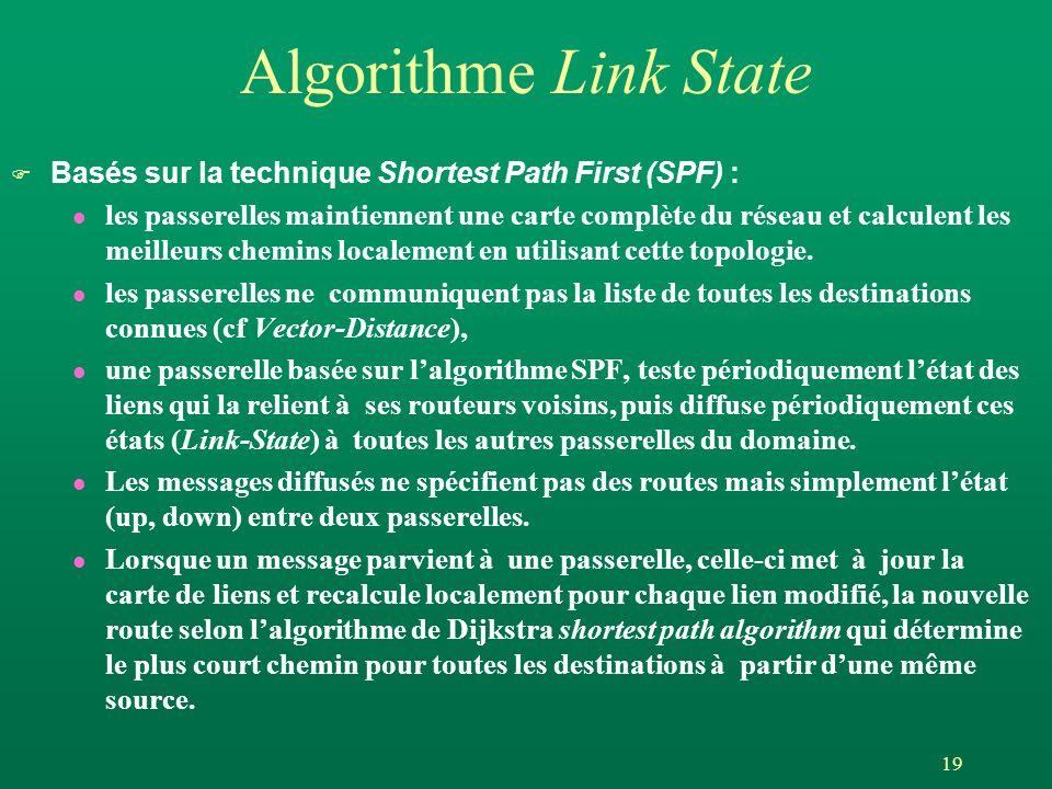 19 Algorithme Link State F Basés sur la technique Shortest Path First (SPF) : l les passerelles maintiennent une carte complète du réseau et calculent les meilleurs chemins localement en utilisant cette topologie.