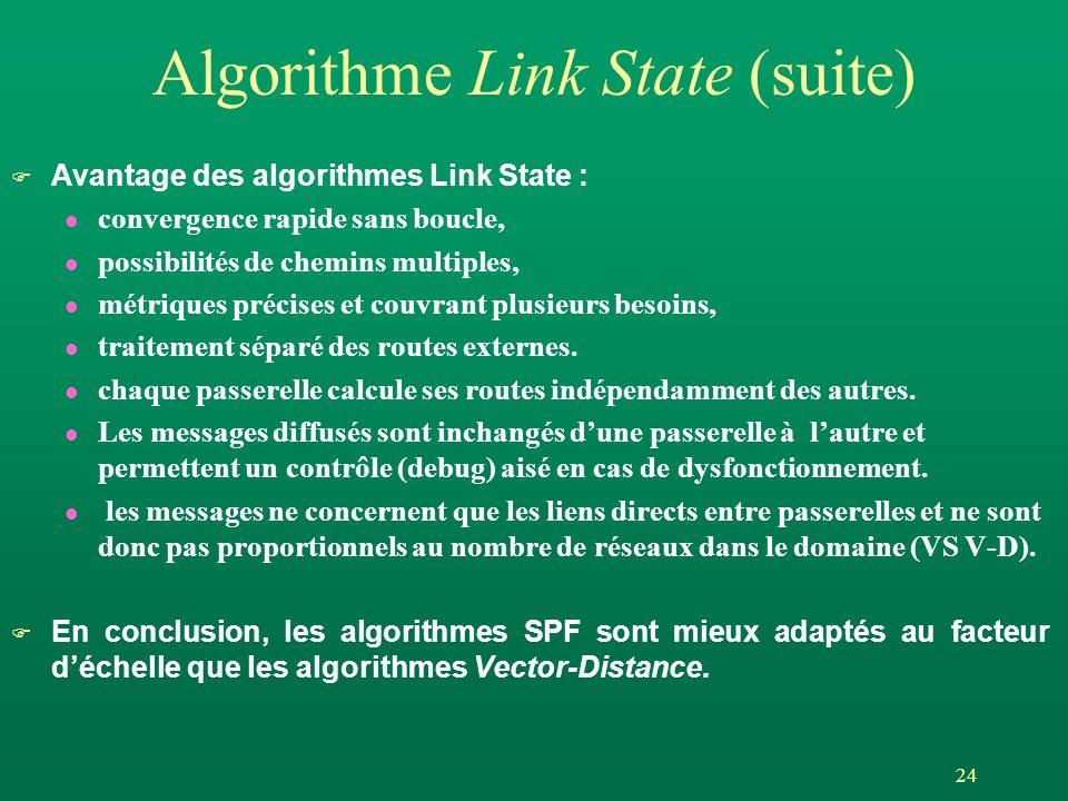 24 Algorithme Link State (suite) Avantage des algorithmes Link State : l convergence rapide sans boucle, l possibilités de chemins multiples, l métriques précises et couvrant plusieurs besoins, l traitement séparé des routes externes.