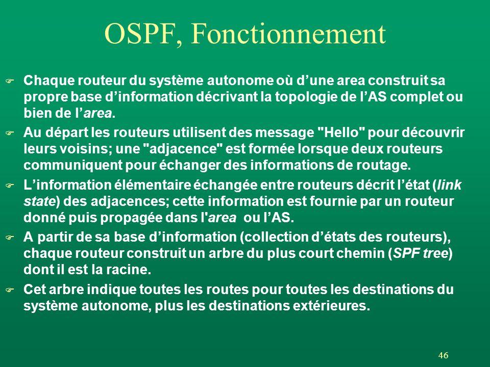 46 OSPF, Fonctionnement F Chaque routeur du système autonome où dune area construit sa propre base dinformation décrivant la topologie de lAS complet ou bien de larea.