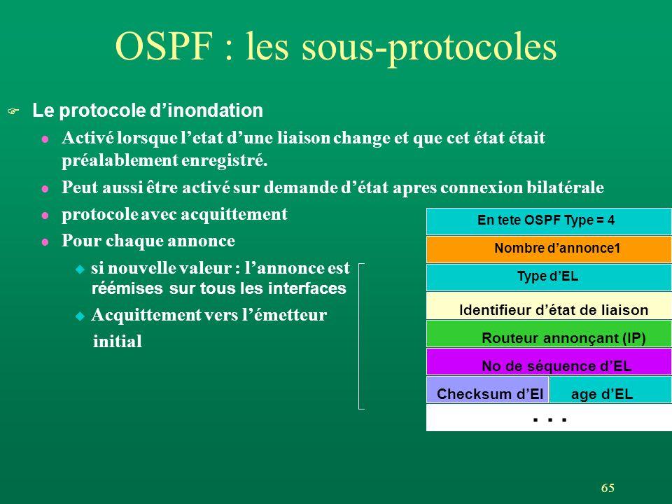 65 OSPF : les sous-protocoles F Le protocole dinondation l Activé lorsque letat dune liaison change et que cet état était préalablement enregistré. l
