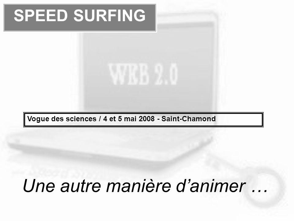Une autre manière danimer … SPEED SURFING Vogue des sciences / 4 et 5 mai 2008 - Saint-Chamond