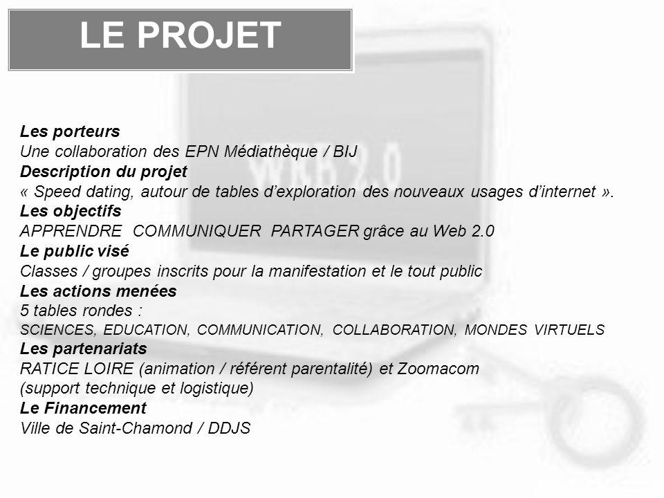 LE PROJET Les porteurs Une collaboration des EPN Médiathèque / BIJ Description du projet « Speed dating, autour de tables dexploration des nouveaux usages dinternet ».