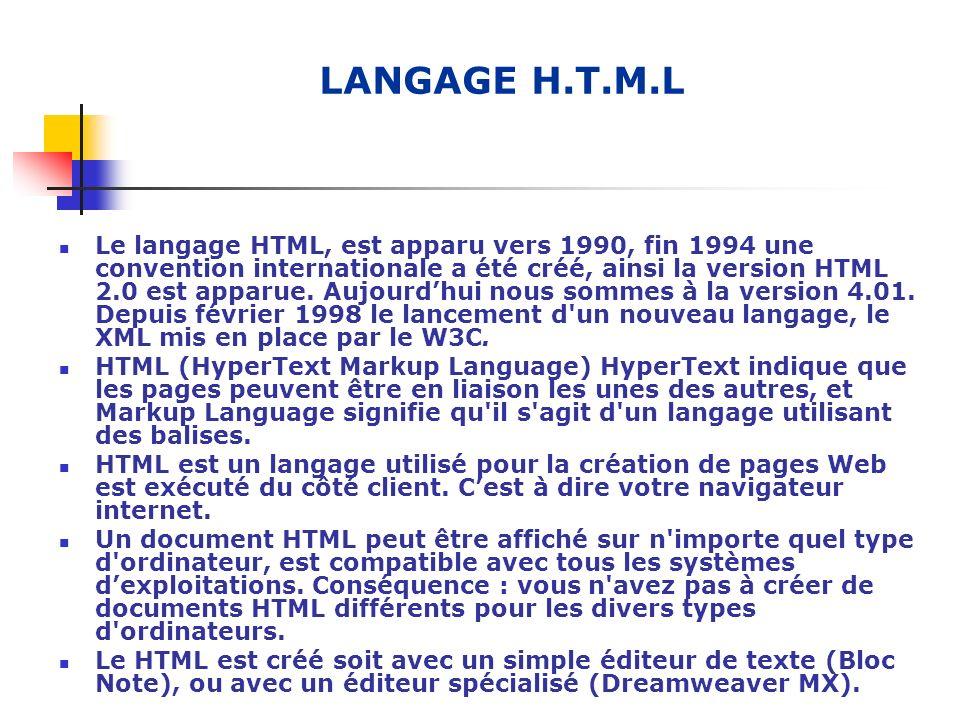 LANGAGE H.T.M.L Le langage HTML, est apparu vers 1990, fin 1994 une convention internationale a été créé, ainsi la version HTML 2.0 est apparue. Aujou