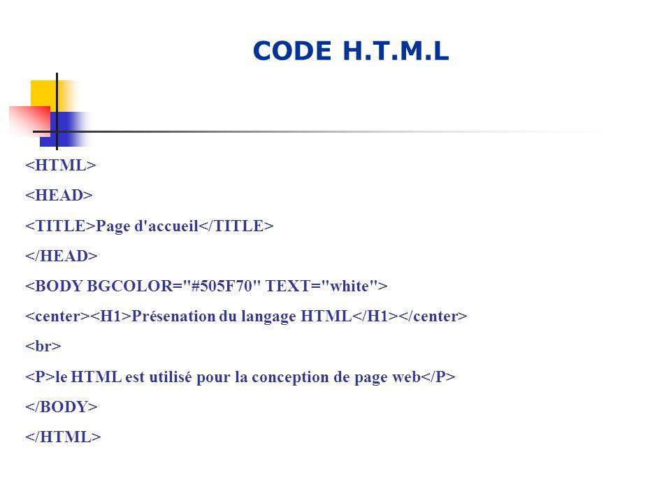 CODE H.T.M.L Page d'accueil Présenation du langage HTML le HTML est utilisé pour la conception de page web
