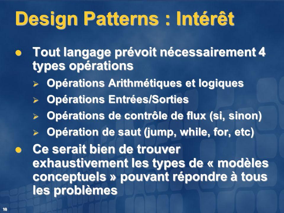 10 Design Patterns : Intérêt Tout langage prévoit nécessairement 4 types opérations Tout langage prévoit nécessairement 4 types opérations Opérations