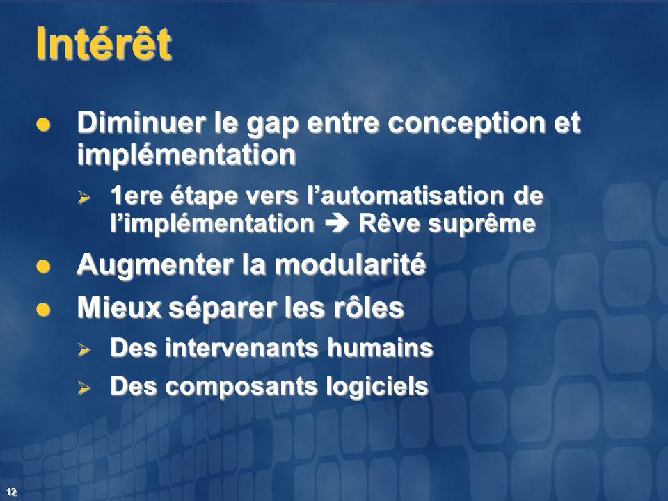 12 Intérêt Diminuer le gap entre conception et implémentation Diminuer le gap entre conception et implémentation 1ere étape vers lautomatisation de li