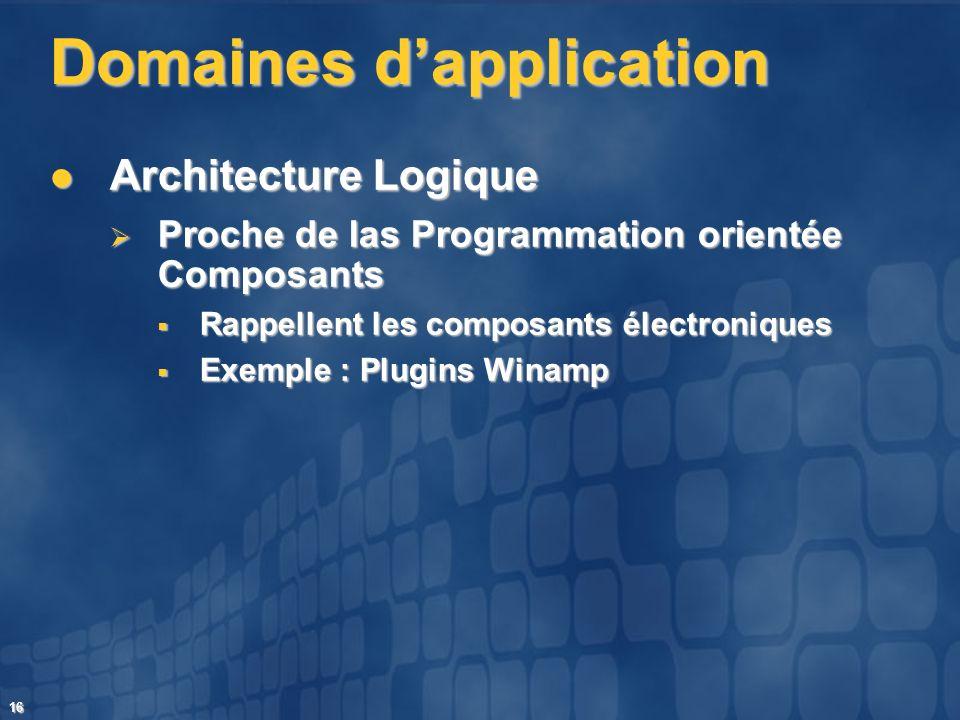 16 Domaines dapplication Architecture Logique Architecture Logique Proche de las Programmation orientée Composants Proche de las Programmation orienté