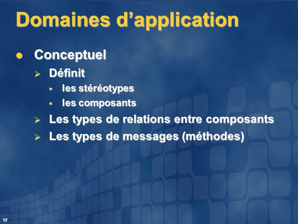 17 Domaines dapplication Conceptuel Conceptuel Définit Définit les stéréotypes les stéréotypes les composants les composants Les types de relations en