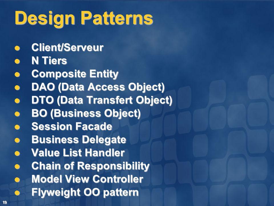 19 Design Patterns Client/Serveur Client/Serveur N Tiers N Tiers Composite Entity Composite Entity DAO (Data Access Object) DAO (Data Access Object) D