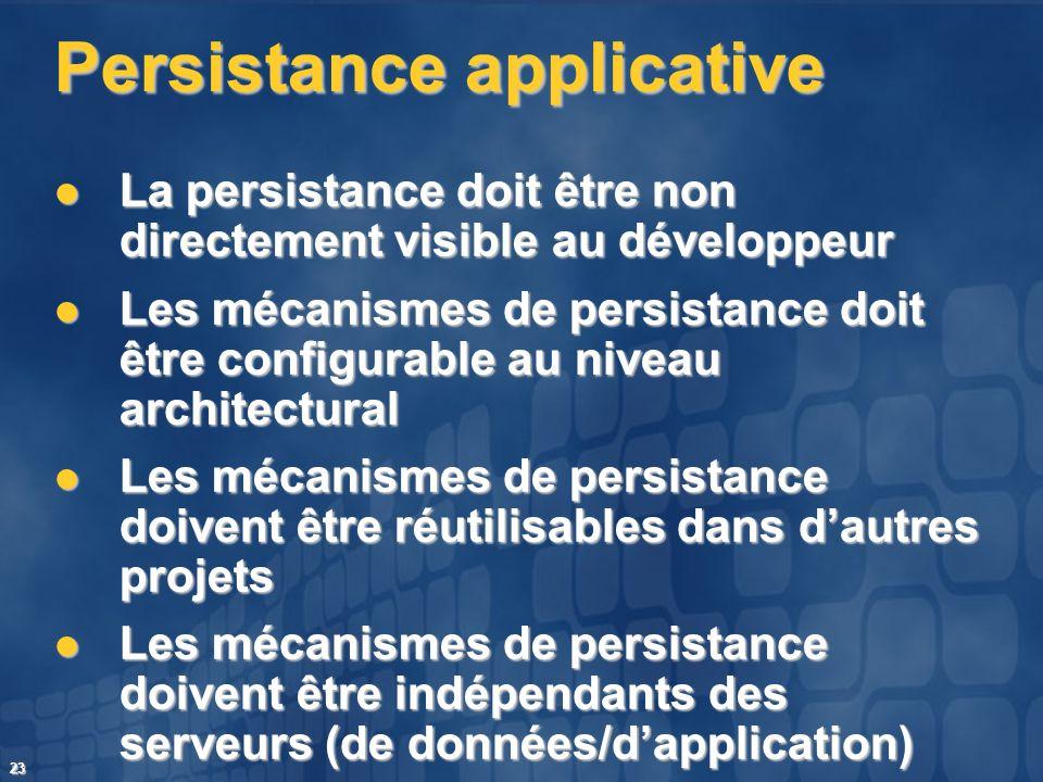 23 Persistance applicative La persistance doit être non directement visible au développeur La persistance doit être non directement visible au dévelop