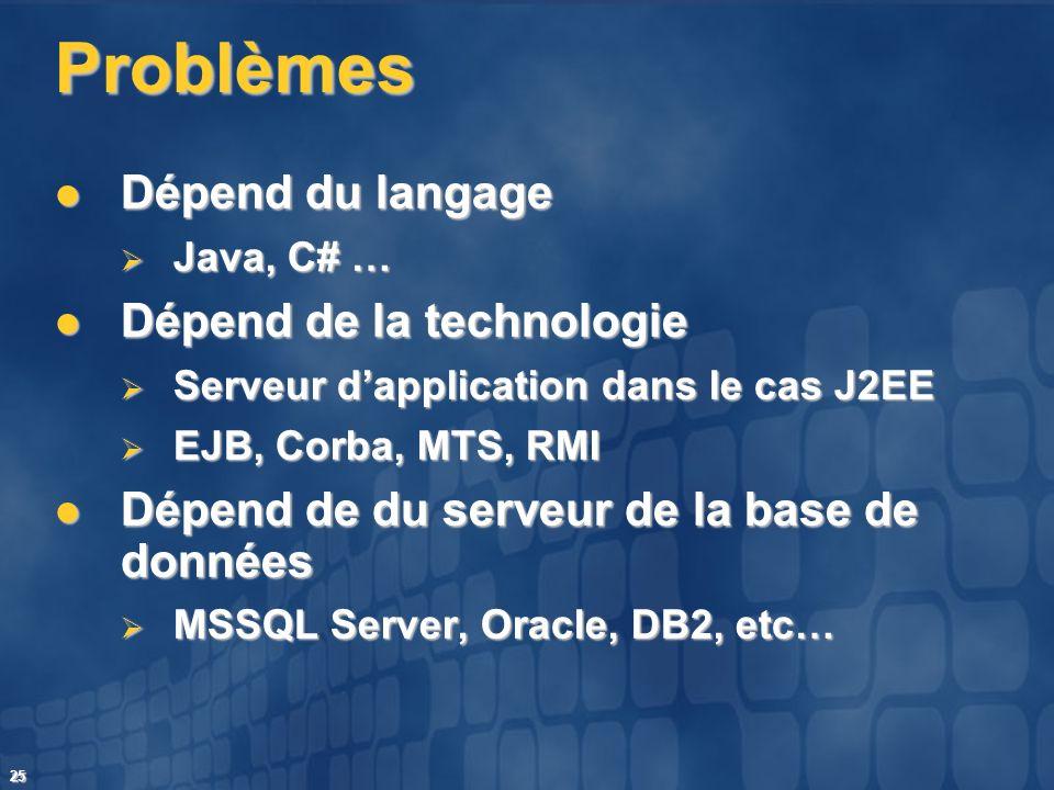 25 Problèmes Dépend du langage Dépend du langage Java, C# … Java, C# … Dépend de la technologie Dépend de la technologie Serveur dapplication dans le