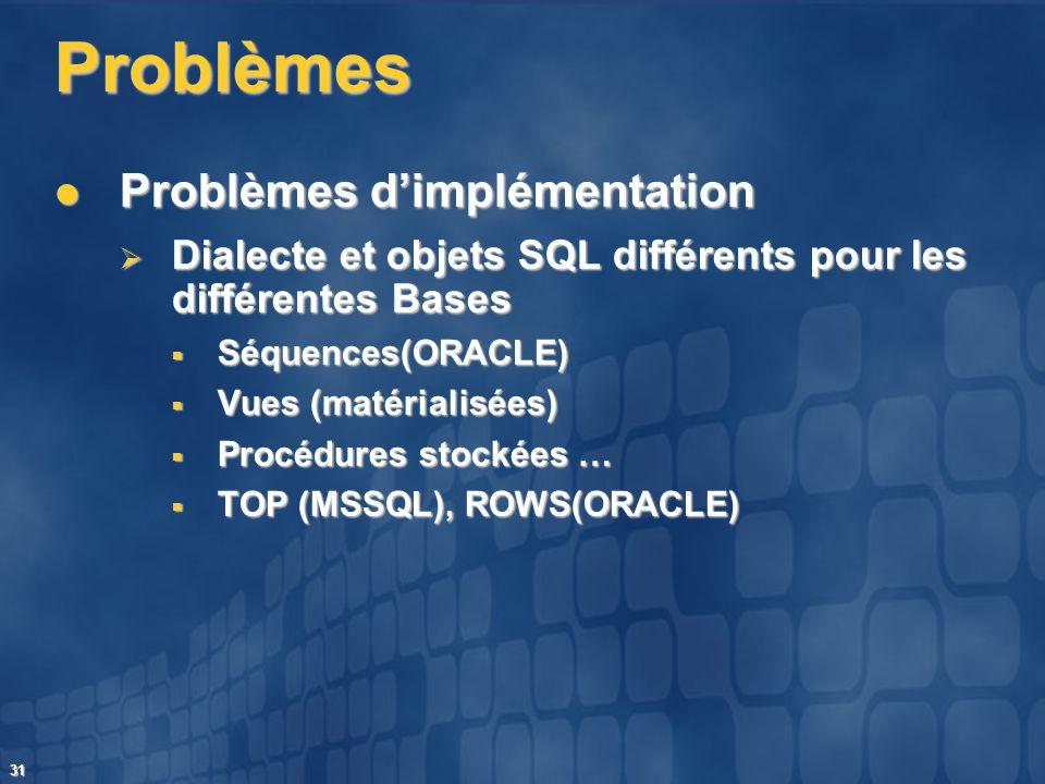 31 Problèmes Problèmes dimplémentation Problèmes dimplémentation Dialecte et objets SQL différents pour les différentes Bases Dialecte et objets SQL d