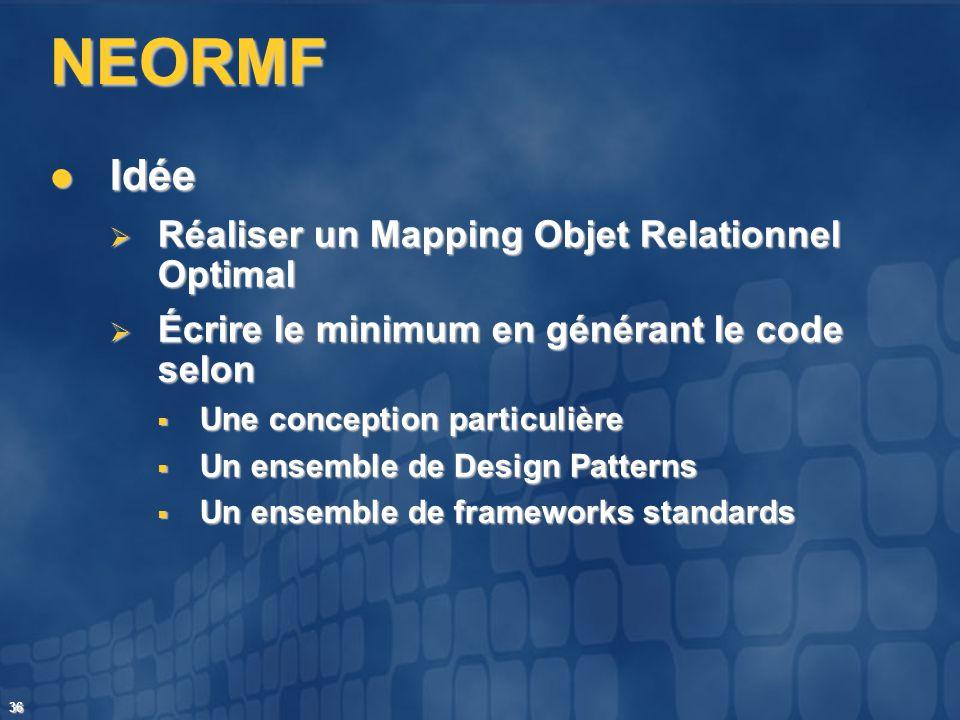 36 NEORMF Idée Idée Réaliser un Mapping Objet Relationnel Optimal Réaliser un Mapping Objet Relationnel Optimal Écrire le minimum en générant le code