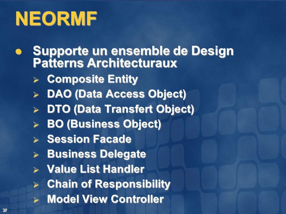 37 NEORMF Supporte un ensemble de Design Patterns Architecturaux Supporte un ensemble de Design Patterns Architecturaux Composite Entity Composite Ent