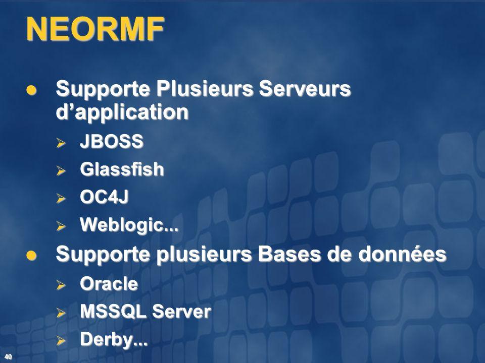 40 NEORMF Supporte Plusieurs Serveurs dapplication Supporte Plusieurs Serveurs dapplication JBOSS JBOSS Glassfish Glassfish OC4J OC4J Weblogic... Webl