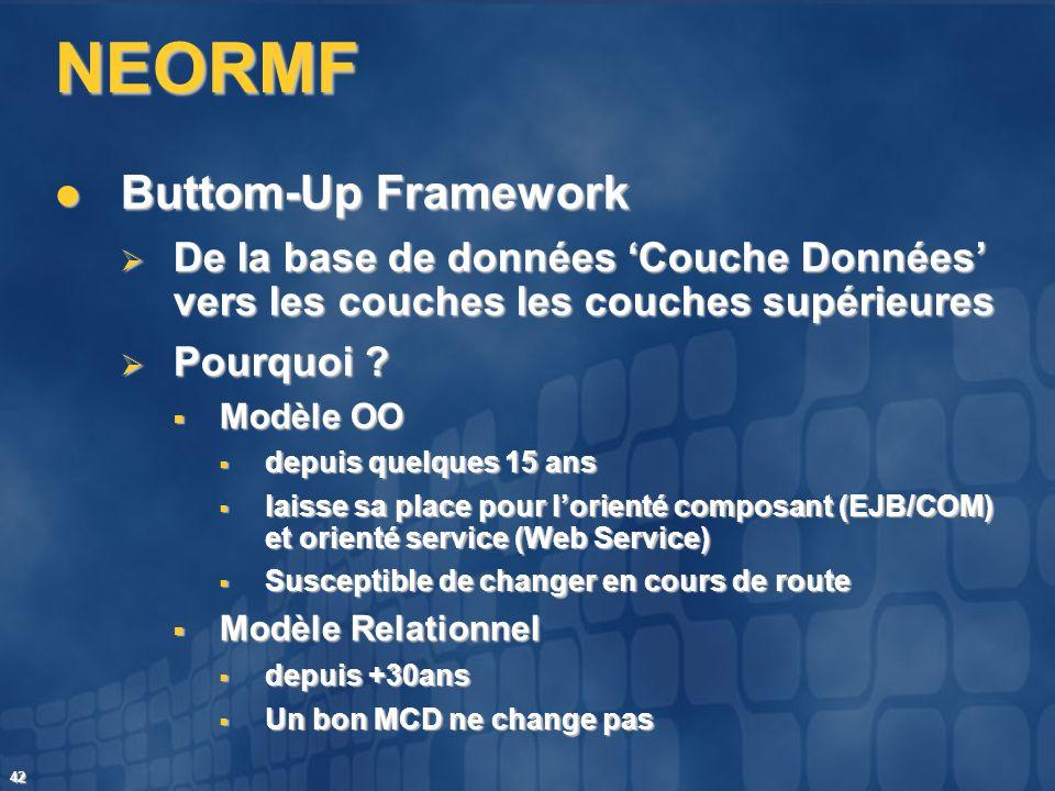 42 NEORMF Buttom-Up Framework Buttom-Up Framework De la base de données Couche Données vers les couches les couches supérieures De la base de données