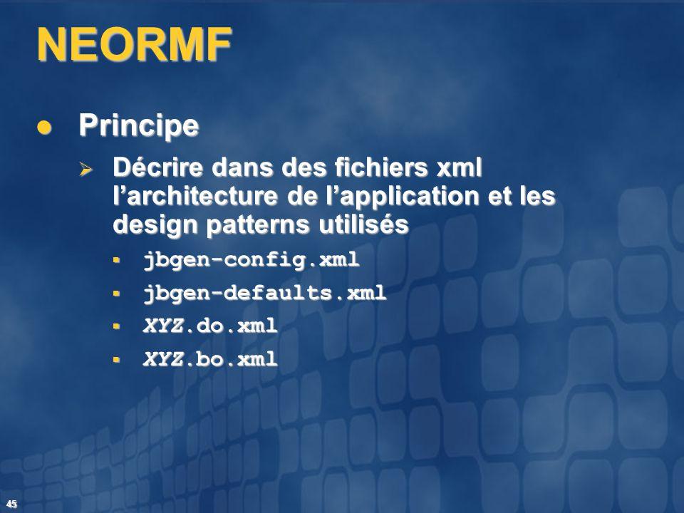 45 NEORMF Principe Principe Décrire dans des fichiers xml larchitecture de lapplication et les design patterns utilisés Décrire dans des fichiers xml